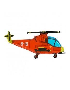 Ballon aluminium hélicoptère rouge